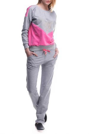 Костюм: джемпер, брюки Majaly. Цвет: серый, розовый