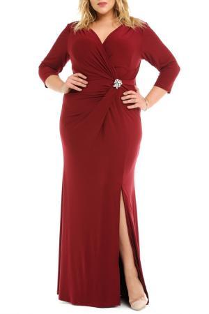 Платье с брошью Svesta. Цвет: бордовый