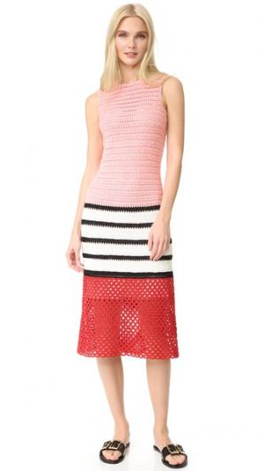 Ажурное платье ручной работы Novis. Цвет: розовый/черный/белый