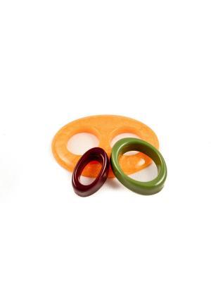 Пряжка Волшебная пуговица Овал и кольцо для шарфа madam Пряжкина. Цвет: темно-коричневый, золотистый, хаки