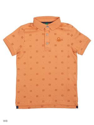 Футболка-поло United Colors of Benetton. Цвет: оранжевый, розовый