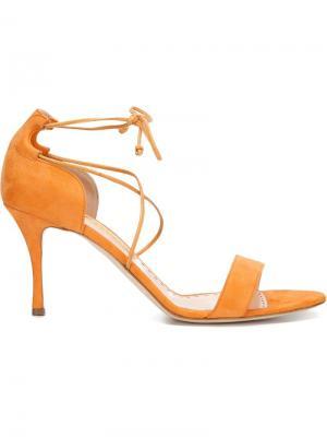 Босоножки с завязками на щиколотке Rupert Sanderson. Цвет: жёлтый и оранжевый