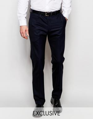 Number Eight Savile Row Полушерстяные брюки слим Exclusive. Цвет: синий