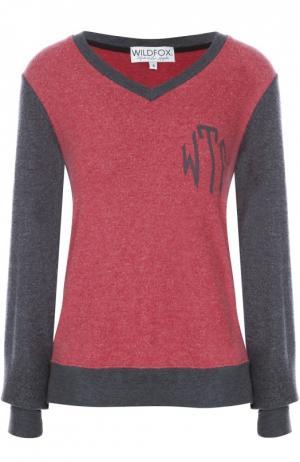Пуловер прямого кроя с V-образным вырезом Wildfox. Цвет: красный