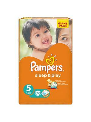 Подгузники Sleep & Play 11-18 кг, 5 размер, 74 шт. Pampers. Цвет: оранжевый