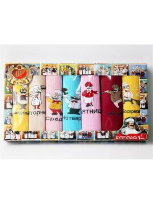 Подарочный набор из 7 вафельных полотенец повар неделька. Домтекс. Цвет: бледно-розовый, голубой