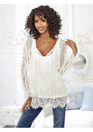 Блузка Linea Tesini. Цвет: молочно-белый