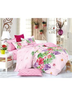 Постельное белье, евро 1st Home. Цвет: сиреневый, бледно-розовый, розовый