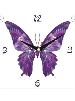 Картина стеновая с часовым механизмом 400*400мм ДСТ. Цвет: фиолетовый, белый
