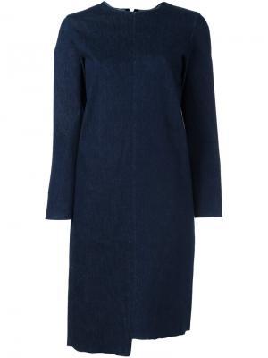 Асимметричное платье-футболка Aries. Цвет: синий