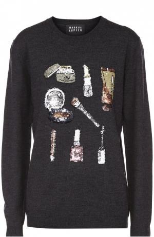 Пуловер прямого кроя с вышивкой пайетками Markus Lupfer. Цвет: темно-серый