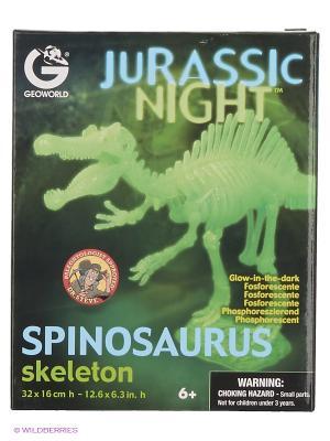 Сборная модель светящаяся Скелет Спинозавра Geoworld. Цвет: бежевый, голубой, желтый, зеленый, коричневый, светло-бежевый, темно-бежевый