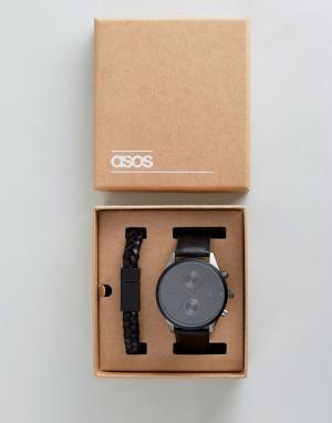 ASOS Черные часы и браслет в подарочном наборе. Цвет: черный