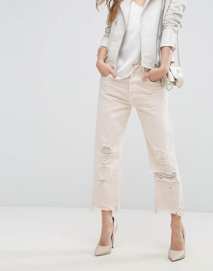 J Brand Прямые укороченные джинсы с завышенной талией и необработанным краем. Цвет: розовый