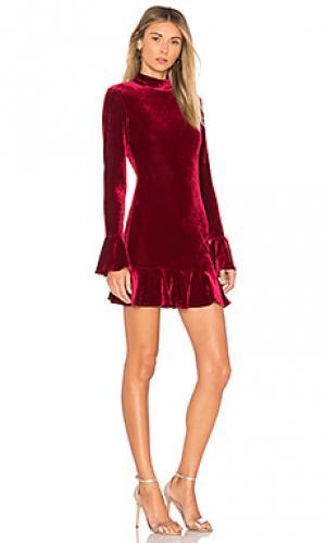 Мини-платье с высоким воротником и расклешенными рукавами simone Lovers + Friends. Цвет: вишня