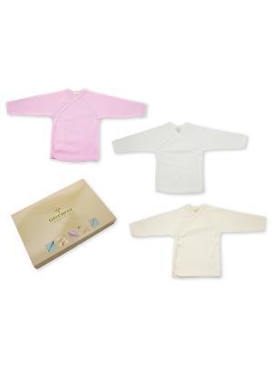 Комплект из 3-х распашонок GREENERA. Цвет: белый, розовый, светло-бежевый