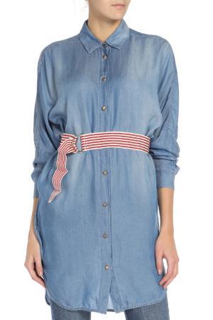 Джинсовое платье-рубашка Pinko. Цвет: голубой