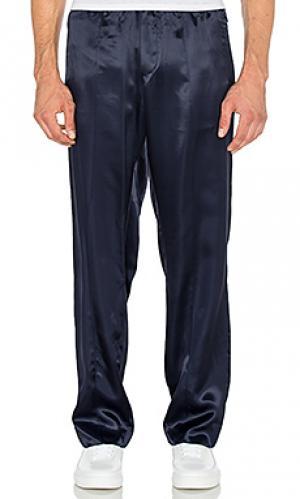 Спортивные брюки из шелка и фланели Opening Ceremony. Цвет: синий