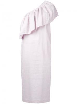 Платье миди на одно плечо Mara Hoffman. Цвет: розовый и фиолетовый