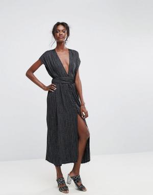 Bec & Bridge Платье макси в полоску Blackbird. Цвет: мульти