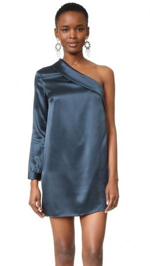 Свободное платье с асимметричным лацканом Michelle Mason. Цвет: уголь