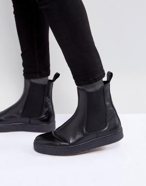 Zign Кожаные ботинки челси на массивной подошве. Цвет: черный