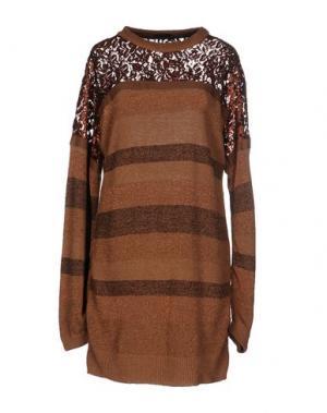 Короткое платье DV ROMA. Цвет: верблюжий