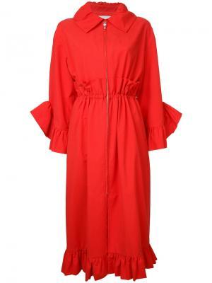 Пальто с отделкой оборками Goen.J. Цвет: красный