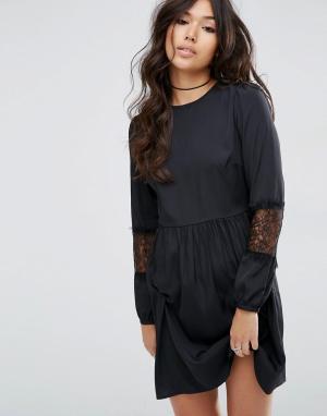 ASOS Платье мини с длинными рукавами. Цвет: черный