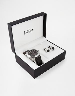 BOSS Часы и запонки в подарочной упаковке Hugo. Цвет: черный