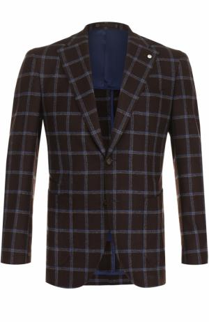 Однобортный пиджак в клетку из смеси шерсти и шелка L.B.M. 1911. Цвет: коричневый