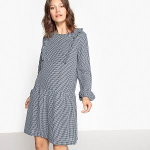 Платье до колен с длинными рукавами La Redoute Collections. Цвет: в клетку/синий