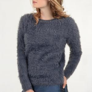 Пуловер ворсистый с длинными рукавами MOLLY BRACKEN. Цвет: антрацит