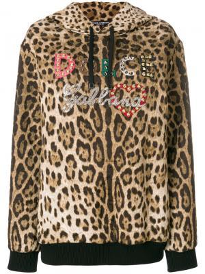 Толстовка с капюшоном леопардовым принтом Dolce & Gabbana. Цвет: коричневый