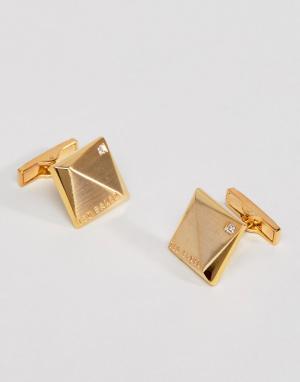 Ted Baker Золотистые запонки с камнями Baile. Цвет: золотой