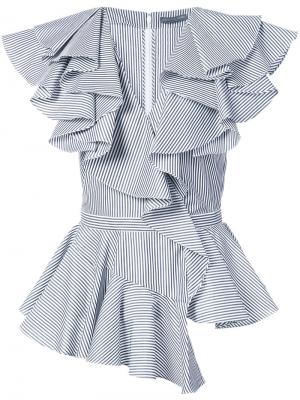 Асимметричная блузка с оборками Alexander McQueen. Цвет: белый