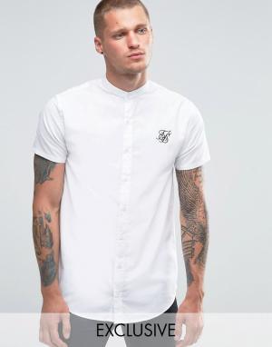 SikSilk Рубашка зауженного кроя с воротником на пуговицах. Цвет: белый