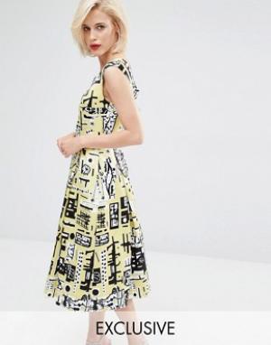 Horrockses Платье для выпускного Monica. Цвет: желтый