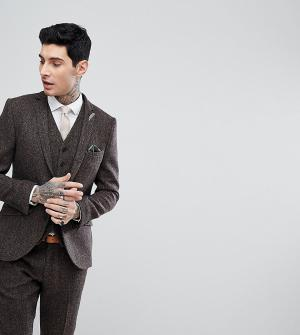 Heart & Dagger Приталенный пиджак из твида Харрис с узором в елочку. Цвет: коричневый