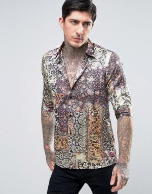 Rogues of London Приталенная атласная рубашка с короткими рукавами и принтом. Цвет: мульти
