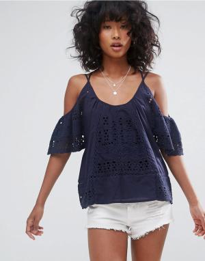 D.RA Блузка с открытыми плечами Culver City. Цвет: темно-синий