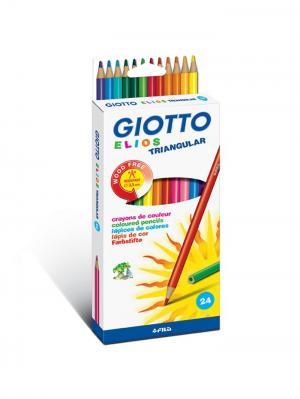 Giotto elios tri цветные пластиковые карандаши 24 шт. FILA. Цвет: бежевый, белый, синий