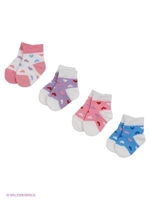 Носки, 4 пары Гамма. Цвет: синий, сиреневый, розовый, белый