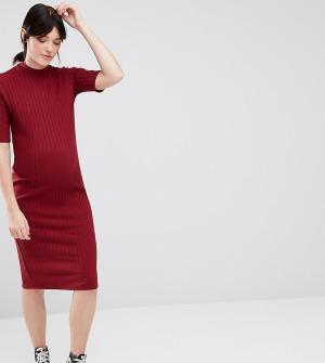 ASOS Maternity Облегающее платье миди для беременных в рубчик. Цвет: красный