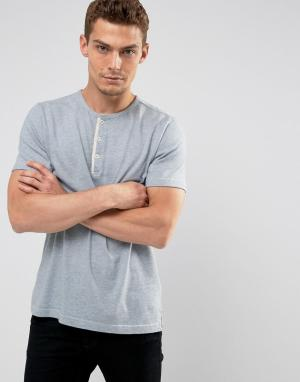 Abercrombie & Fitch Голубая меланжевая футболка хенли узкого кроя. Цвет: синий