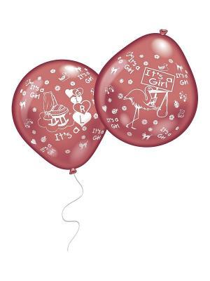 10 шариков с рисунком Рождение малыша (дев.) Everts. Цвет: розовый