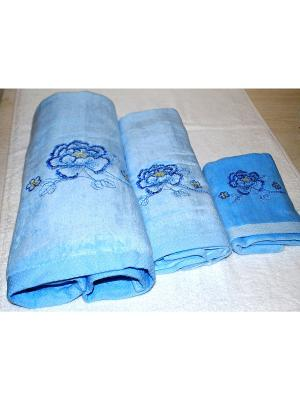 Комплект полотенец 3 предмета (40х70,50х90,70х140) Лорд La Pastel. Цвет: голубой