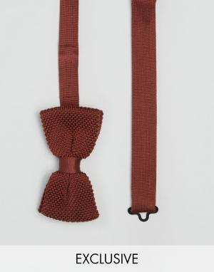 Heart & Dagger Трикотажный узкий галстук-бабочка. Цвет: коричневый