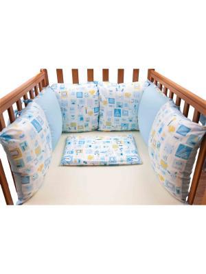 Бампер Мультяшки гол 6 подушек DAISY. Цвет: бирюзовый, серо-голубой, светло-оранжевый, белый