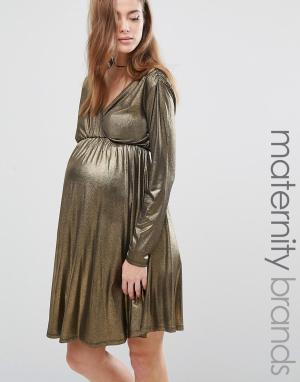 Bluebelle Maternity Платье для беременных с длинными рукавами и запахом Maternit. Цвет: золотой
